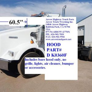 "Kenworth T800 Hood: '94 & Up W/ Curved Windshield - 60.5"" Half Fender W/ Air Breather Cutouts Aftermarket"