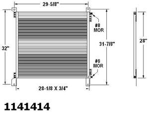Peterbilt 330, 357, 378, 359, 379, 385 short hood, A/C Condenser