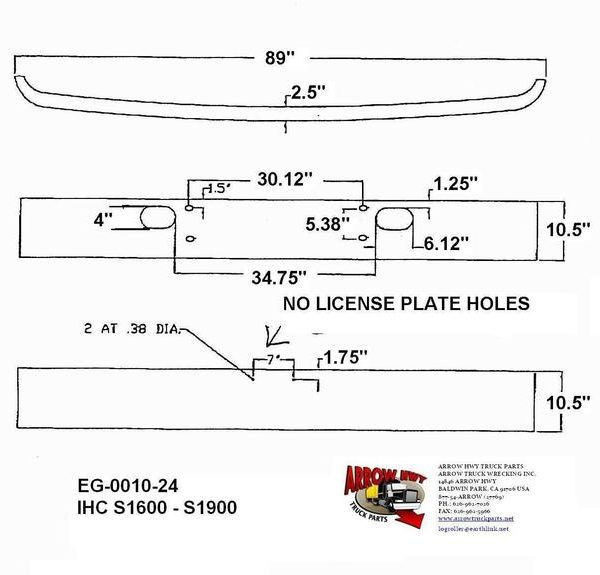 International S1600, S1700, S1900, S2100, & S2300 Chrome Bumper