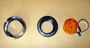 "Bumper Light Assembly: Round Amber 2"" LED w/ Screwless Bezel & Grommet"