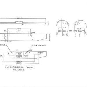 "Freightliner Coronado Bumper:12"" - Chrome Steel"