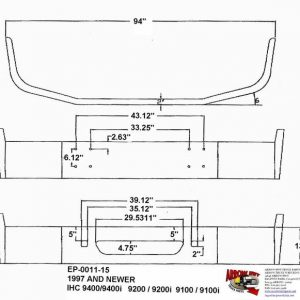 International 9400i, 9200i, & 9100i Bumper w/ No Body Line: Painted Steel fits 1997 & Newer, Redesign