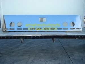 "Peterbilt 379 / 378 / 357 Bumper: ""Box End Custom"" W/ 4 Round Fog Light Holes, 6 Light Holes (Front), 5 Oval Holes (End)"