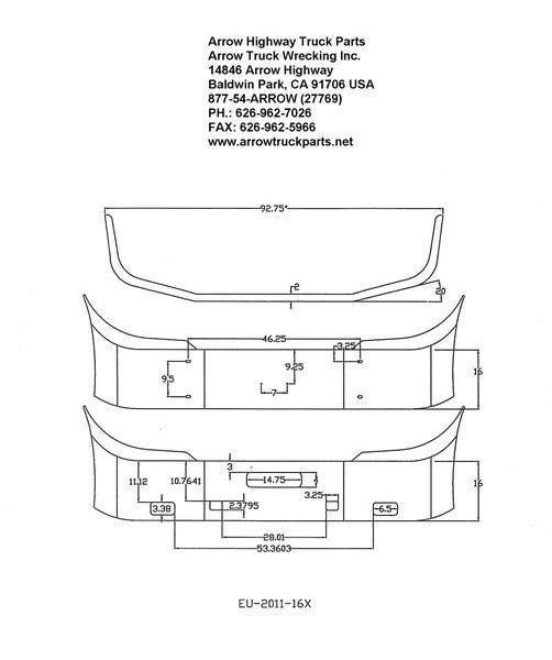 International / Navistar Prostar Chrome Steel Bumper. Fits '03 and Newer