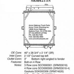 Kenworth T600 - T800 Radiator - 4 Row fits '91 - '07