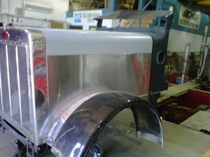 Peterbilt 379 Extended Hood Aluminum Upper Panel.