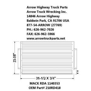 Mack RD A/C Condenser: 1996-2005