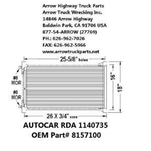"""Volvo / Autocar 99-02 A/C Condenser: (16""""X27"""")"""