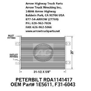 Peterbilt 379 A/C Condenser: fits '05-'07