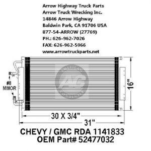GMC - Chevrolet - Kodiak 97-02 A/C Condenser