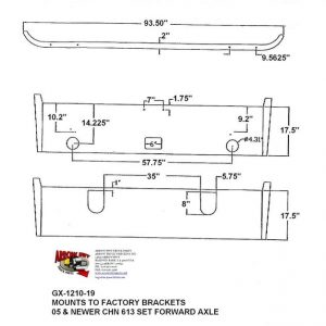 Mack CHN613 Set Forward Axle '05 & up Bumper: Chrome With Fog light holes