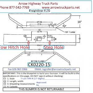 Freightliner FL60, FL70, & FL80 Bumper: Chrome Steel 1 Piece