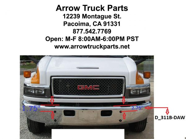 "GMC - CHEVROLET C4500 & C5500 BUMPER: PAINTED OR CHROME STEEL, 2004 AND UP - ""FACTORY STYLE"""