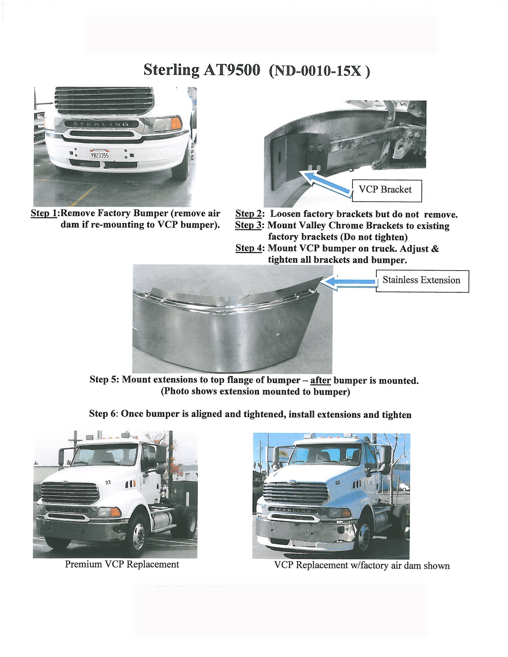 BumperMaker: Sterling AT9500 & AT9513 Replaces OEM Plastic Bumper