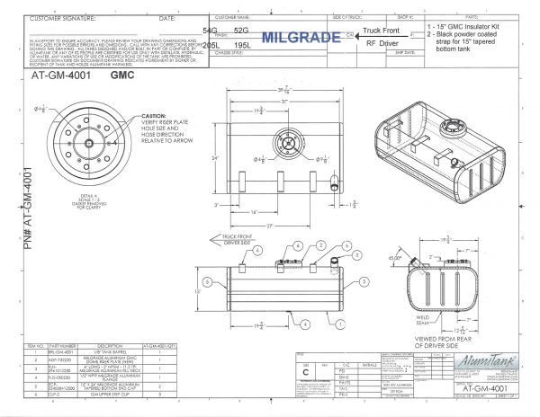 GMC Fuel Tank 15x24x37 w/ step provision FTL AT-GM-4001